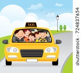 family traveling in a taxi cab | Shutterstock .eps vector #724837654