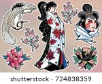 set of flash style japanese... | Shutterstock .eps vector #724838359