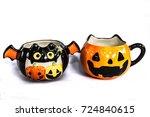 cute halloween glass for candy... | Shutterstock . vector #724840615