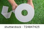 toilet paper   hands holding a...   Shutterstock . vector #724847425
