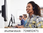 female customer services agent...   Shutterstock . vector #724852471