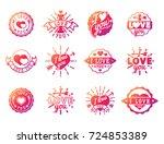 vector i love you text overlays ... | Shutterstock .eps vector #724853389