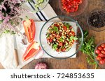 superfood concept. ingredients... | Shutterstock . vector #724853635