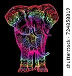 elephant tattoo. symbol of... | Shutterstock .eps vector #724858819