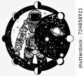 astronaut tattoo and t shirt...   Shutterstock .eps vector #724858921