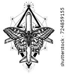butterfly and air plane tattoo... | Shutterstock .eps vector #724859155