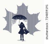 girl in rain tattoo. ... | Shutterstock .eps vector #724859191