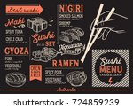 sushi menu for restaurant and... | Shutterstock .eps vector #724859239