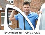 outdoor portrait of driver with ... | Shutterstock . vector #724867231
