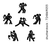 stick figure dancing couple set.... | Shutterstock . vector #724869055