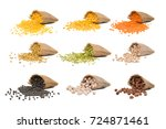 collection of seeds in yellow... | Shutterstock . vector #724871461