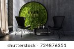 two chairs with small table... | Shutterstock . vector #724876351