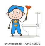 cartoon plumber cleaning with... | Shutterstock .eps vector #724876579