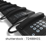 row of black office phones | Shutterstock . vector #72488431