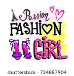 passion fashion girl. fancy... | Shutterstock .eps vector #724887904