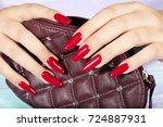 hands with long artificial...   Shutterstock . vector #724887931