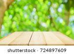 wooden table with blurred city... | Shutterstock . vector #724897609