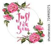 romantic watercolor rose... | Shutterstock . vector #724905271