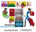 vector shopping backgrounds.   Shutterstock .eps vector #72490675
