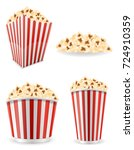 popcorn in striped cardboard... | Shutterstock .eps vector #724910359