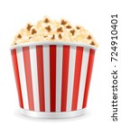 popcorn in striped cardboard... | Shutterstock .eps vector #724910401