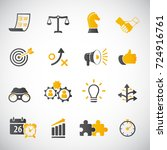 strategy and business icon set | Shutterstock .eps vector #724916761
