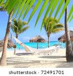 caribbean beach hammock and... | Shutterstock . vector #72491701