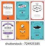 set of 6 halloween cards....   Shutterstock .eps vector #724925185