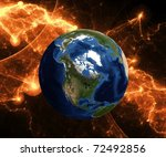 Planet earth in danger Map for Earth 3d reconstruction is used from NASA site - stock photo