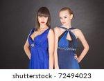 two young girls in elegant...   Shutterstock . vector #72494023