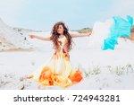 portrait of beautiful girl...   Shutterstock . vector #724943281