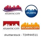 atlantic city skyline logo... | Shutterstock .eps vector #724944511