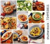 collage of original italian... | Shutterstock . vector #724953811