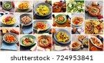 collage of original italian... | Shutterstock . vector #724953841