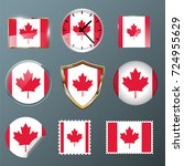 canada flag set collection in... | Shutterstock .eps vector #724955629