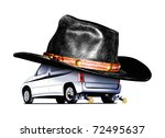 Illustration of a Cowboy car  on white background - stock photo