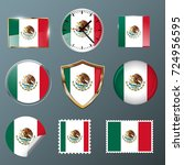 mexico flag set collection in... | Shutterstock .eps vector #724956595