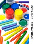 Colorful set of paints and pencils - stock photo