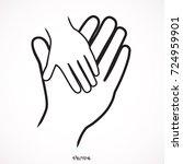 isolated vector hands logo.... | Shutterstock .eps vector #724959901