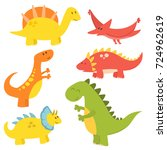cartoon dinosaurs vector... | Shutterstock .eps vector #724962619