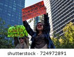 Small photo of PHILADELPHIA, PA OCTOBER 6, 2011 Two female Occupy Wall Street protesters holding sign protesting corporate greed.