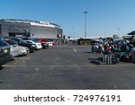 Small photo of Meadowlands, New Jersey - Circa 2017: New York Jets fans tailgate in the parking lot outside Metlife Stadium before american football game during a sunny day