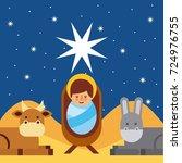 merry christmas jesus christ... | Shutterstock .eps vector #724976755