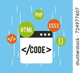 web development code html css... | Shutterstock .eps vector #724977607