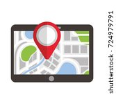 tablet pointer map navigation... | Shutterstock .eps vector #724979791