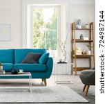 beautiful living room with... | Shutterstock . vector #724987144