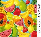 delicious tropical fruit... | Shutterstock .eps vector #724989481
