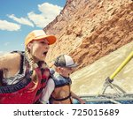 family on an exciting rafting... | Shutterstock . vector #725015689