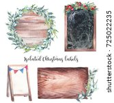 watercolor christmas label set. ... | Shutterstock . vector #725022235