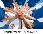 happy multiracial janitors... | Shutterstock . vector #725069377